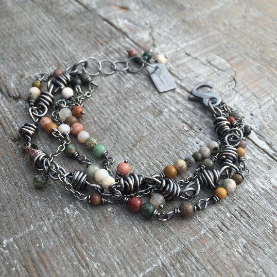 Sterling Silver Bracelet Ocean Jasper Handmade Wild Prairie Silver Jewelry Joy Kruse