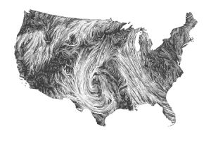 Live animation of wind patterns over the U.S.A.