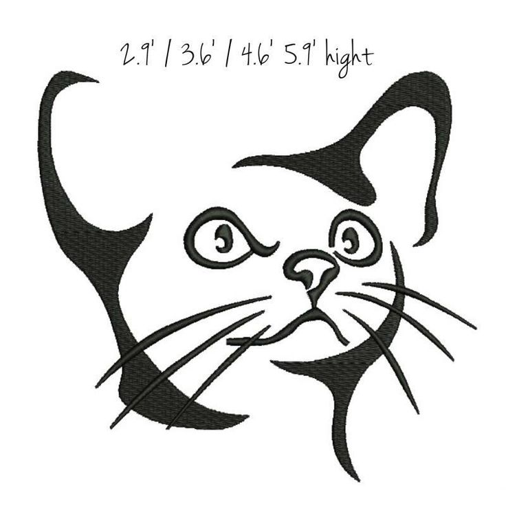 cat face embroidery machine design pussy kitten kitty puss pattern digital download designs by GretaembroideryShop on Etsy