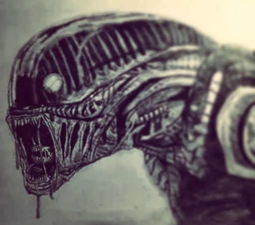 Alien A3 drawing around 2014 January based on a googled digital art