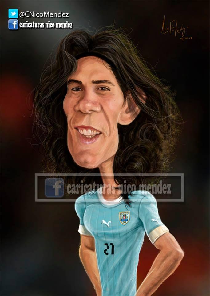 """(Caricatura) Edinson Cavani. """" Il matador """" / Selección Uruguaya."""