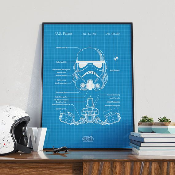 Storm Trooper Helmet Patent Art, Trooper Print, Star Wars Patent, Star Wars Print  Decorate your home or office in a unique way to put your interests and hobbies on display. Also very suitable for gift. The papers used is high quality heavyweight uncoated paper with archival inks.  * We guarantee 100% satisfaction * High durability of print  - Choose from 10 different styles, please see listing photos for examples! - Choose from sizes: 5x7, 8x10, 11x17, 12x16, 16x20, 18x24  If You Purchase…
