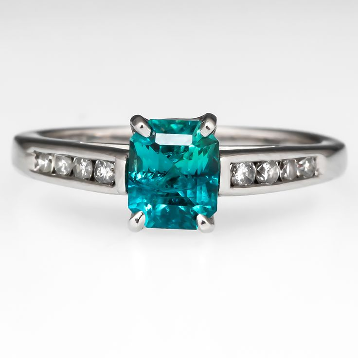 Lovely Blue Green Bi Colored Tourmaline Engagement Ring Platinum