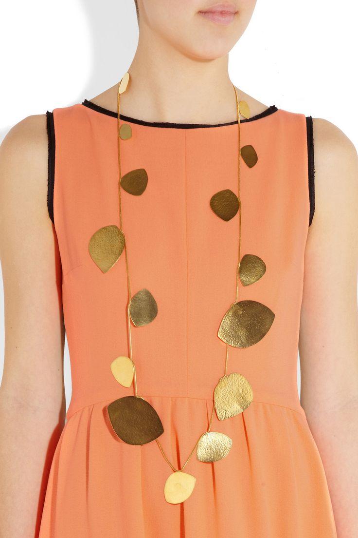 Hervé Van Der Straeten|Hammered 24-karat gold-plated teardrop necklace|NET-A-PORTER.COM