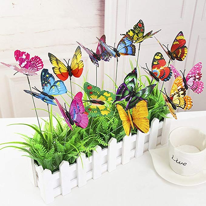 50Pcs Colorful Butterfly Stakes Outdoor Yard Garden Flower Pot Decor Ornaments