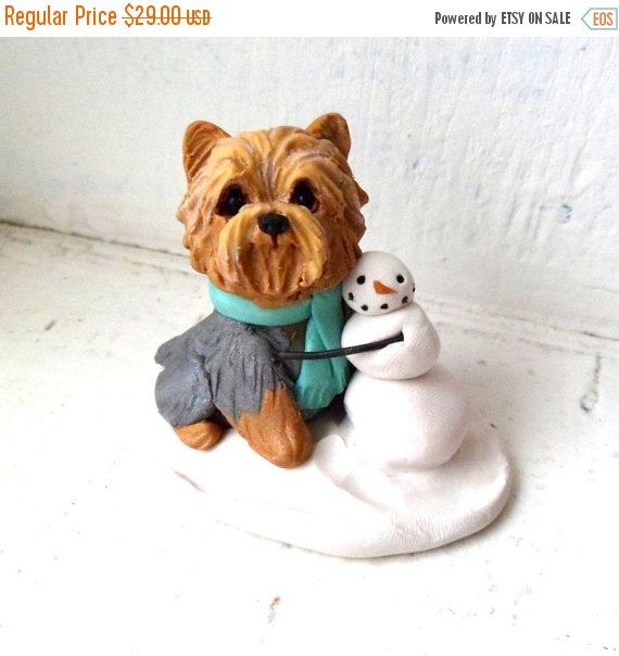 SPRING SALE Yorkshire Terrier with Snowman Sculpture Polymer Clay Yorkie Mini by Raquel at theWRC Xmas Dog Collectible by theWRC on Etsy https://www.etsy.com/listing/260842137/spring-sale-yorkshire-terrier-with