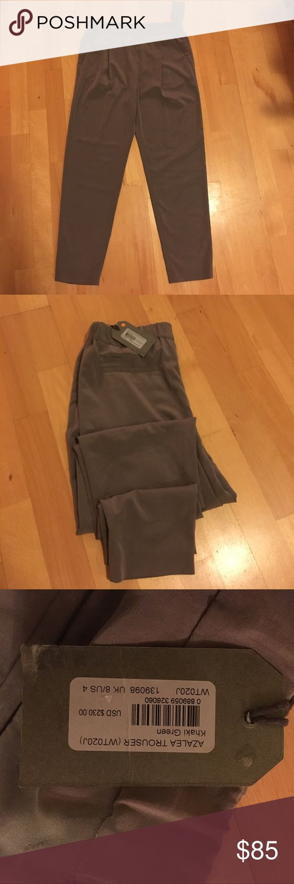 """All Saints Trouser Brand new, never been worn trouser fit. The waste is a little tight on me. I have a butt and it's a little hard to get them around which is why I'm selling. I just don't think I'll wear them. They are a Khaki green color. I am 5'5"""" and 128-130 lbs. All Saints Pants Trousers"""