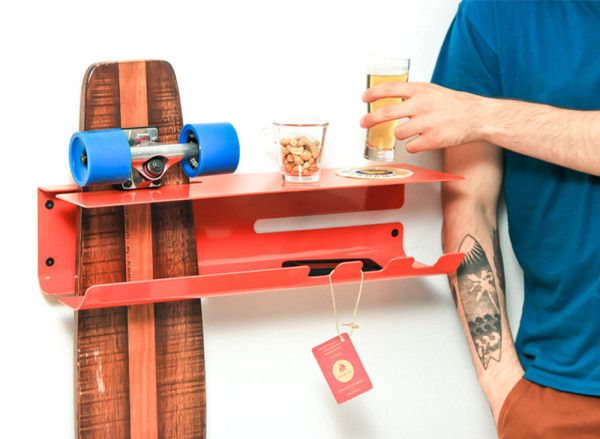 A Wall Mounted Rack to Proudly Display Your Skateboard