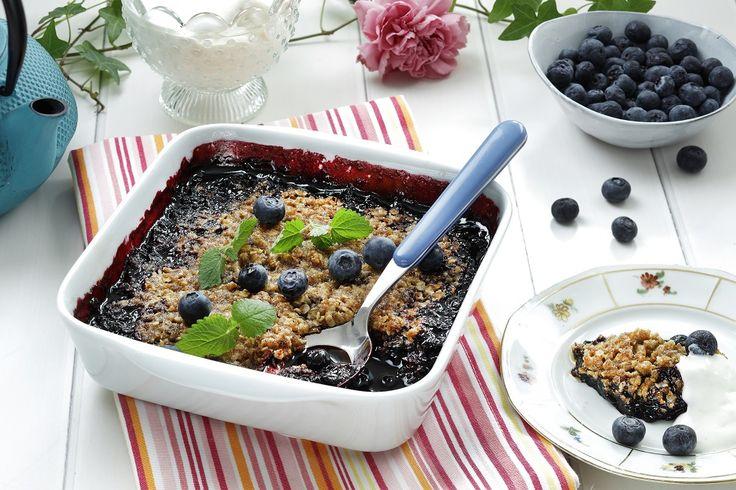 Smuldrepai med frosne blåbær er perfekt på en varm sommerdag...
