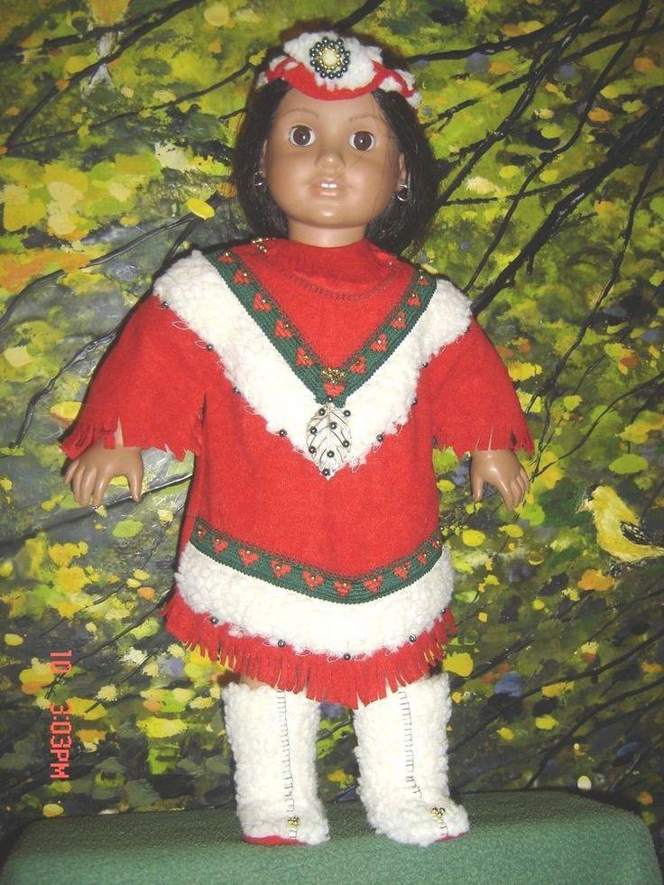 "INDIAN DOLL COSTUME 181/2"" CHRISTMAS RED 125 BEADS ORIGINAL GRANMAFRAN OOAK #GRANMAFRANORIGINALS #DOLLCLOTHES"