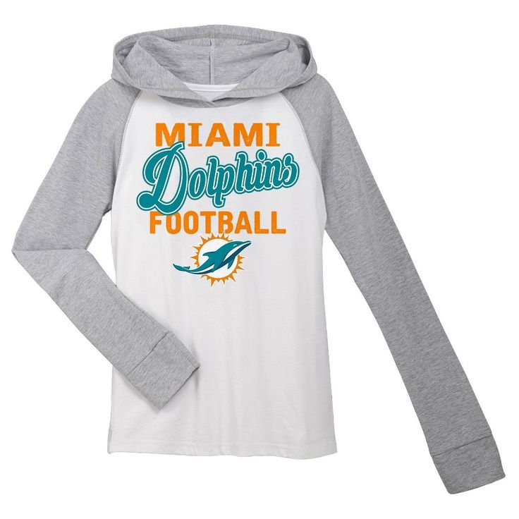 T-Shirt Miami Dolphins Team Color XL, Girl's, Gray White