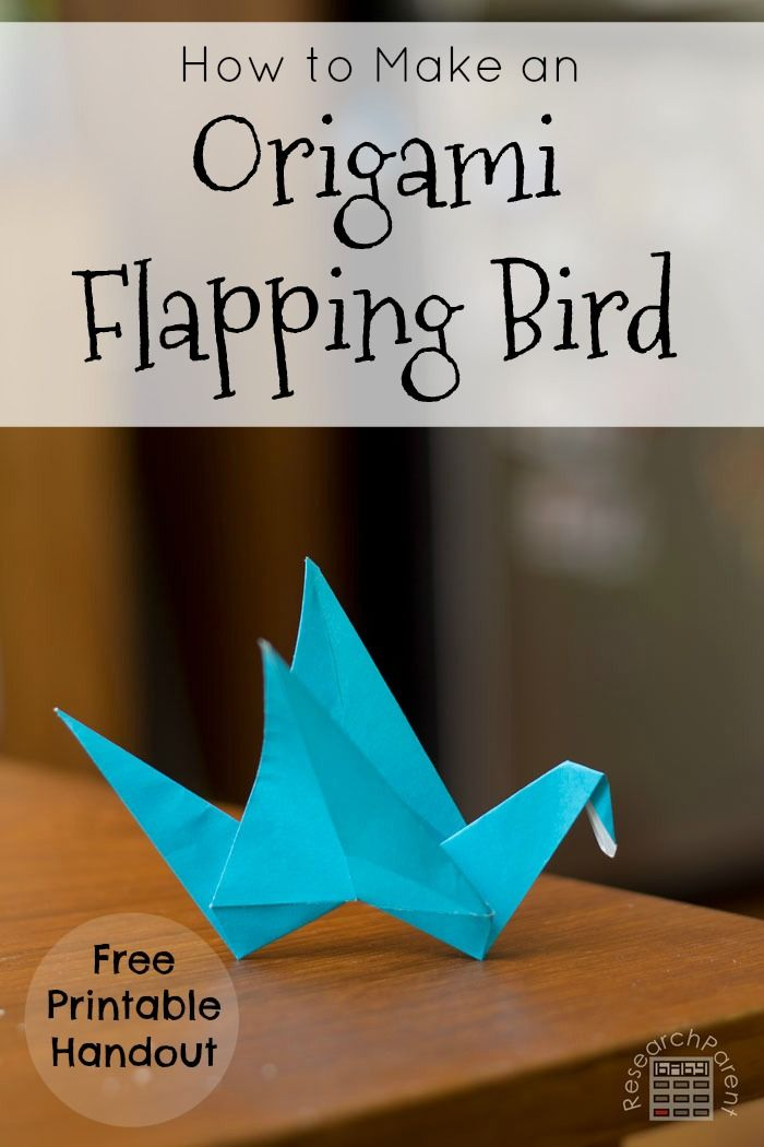 Step by step picture tutorial for making an origami bird with wings that really flap. A free printable handout with all the instructions is included. via @researchparent