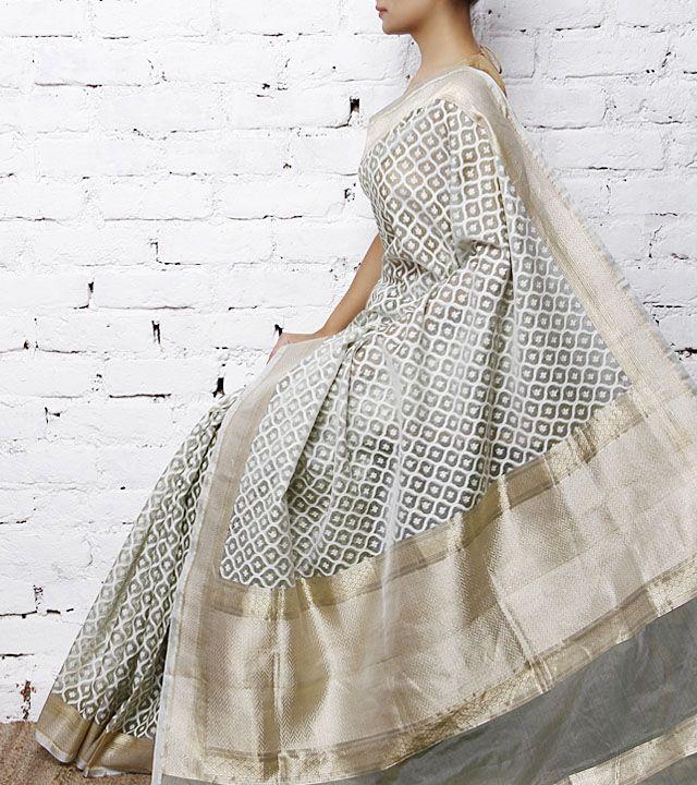 Grey Handwoven Banarasi Kora Silk Saree