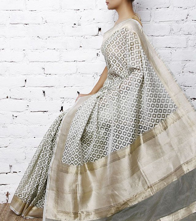 Grey Handwoven Banarasi Kora Silk Saree