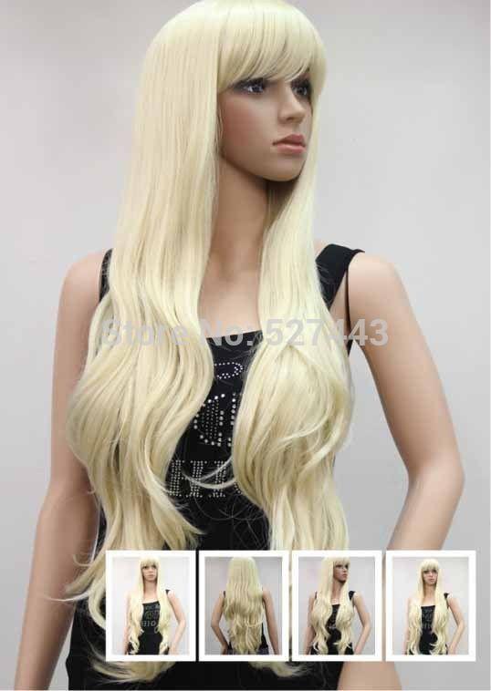 Горячие Продать H & y05568>>> Лучшие Качества ЖЕНСКАЯ ПОЛНЫЙ ПАРИК Горячие Длинные Сексуальная Бледная Блондинка Парик cap L1383A 613