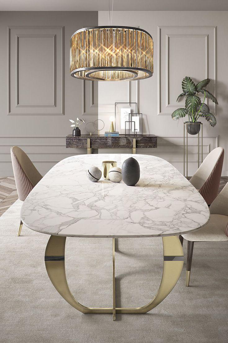 Italian Designer Contemporary Calacatta Oro Marble Dining Table