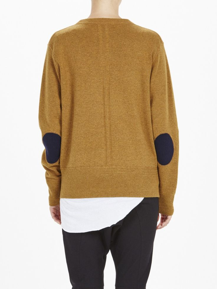 wool elbow patch knit / safari