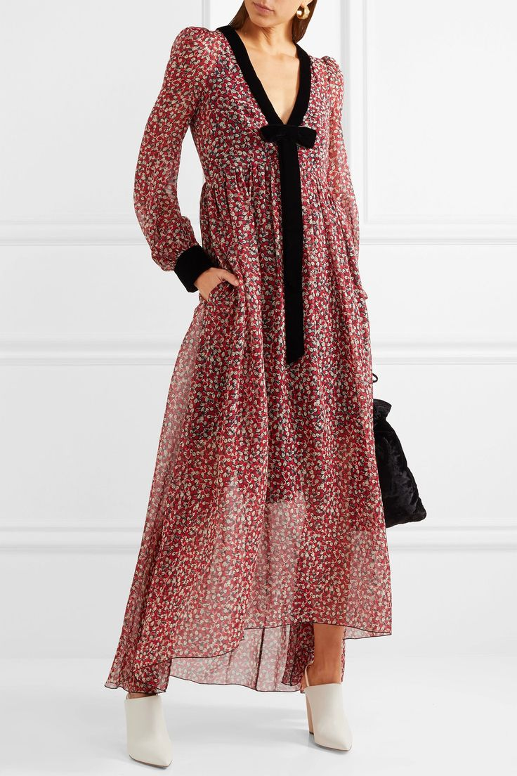Philosophy di Lorenzo Serafini | Velvet-trimmed floral-print silk-chiffon midi dress | NET-A-PORTER.COM