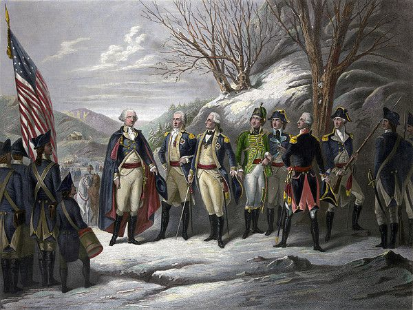 WASHINGTON & GENERALS. 'The Heroes of the Revolution.' Left to right: General George Washington and officers Johann De Kalb, Baron von Steuben, Kazimierz Pulaski, Tadeusz Kosciuszko, Marquis de Lafayette, and John Muhlenberg, with Continental Army troops during the American Revolutionary War. Steel engraving, mid to late 19th century, by Frederick Girsch.