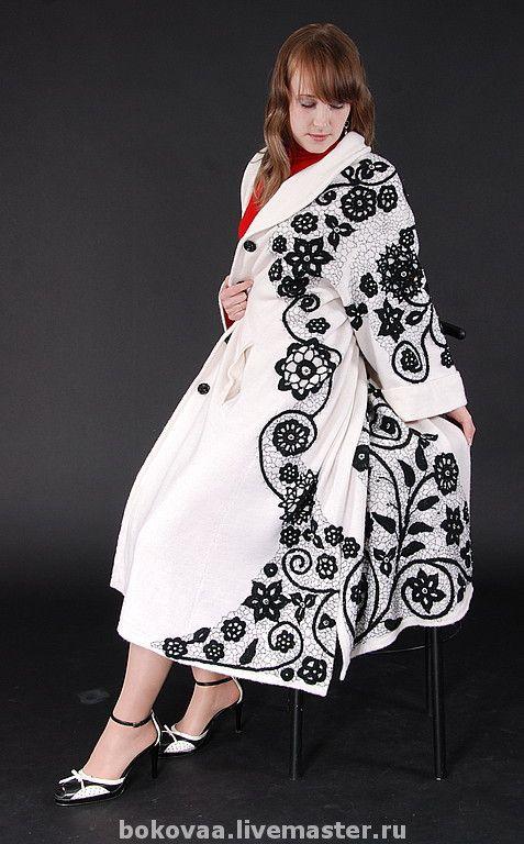 """Купить Пальто""""Белое-черное"""" - Вязание крючком, Машинное вязание, ручная вышивка, пальто, черно-белое"""