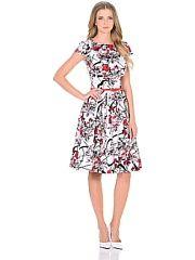 Платье PF  Красивое платье с клешенной юбкой миди-длины приталенного силуэта из ткани на основе хлопка( хлопок - атлас) с красивым рисунком . За счет состава ткани из натуральных волокон вы будете чувствовать себя комфортно .Юбка со кладками и карманами . В боковом шве платья имеется потайная молния . В нем платье Вы будете чувствовать себя элегантно . Отличный вариант на любой случай. Платье комплектуется поясом . Рост модели - 175 см.. Платье PF промокоды купоны акции.