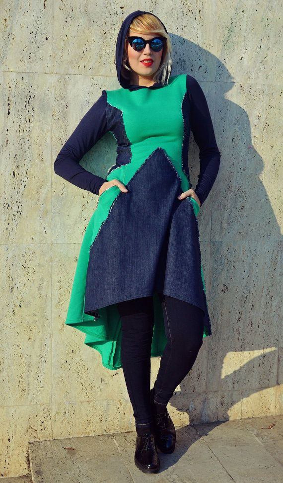 Extravagant emerald dress with denim inset made of pure cotton fleece, being extremely comfortable and warm, such a catch this season. Fun and playful piece, suitable on so many occasions! Lets jazz up the streets! Material: 100% cotton fleece 95% cotton, 5% elastane - denim inset  Care instructions: Wash at 30 degrees  The model in the picture is size S.  Can be made in ALL SIZES.  If you have any other specific requirements, do not hesitate to contact me!  I DO NOT CHARGE EXTRA MONEY for…