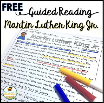 Free Martin Luther King Jr. Guided Reading Passage     Help your students become more confident readers with this fun and interactive passage about Martin Luther King Jr. It is perfect for helping students build stamina and fluency while finding text evidence to prove their answers in the text.  Use for morning work guided reading groups partner work or even homework!  Grab the free passage HERE!   activities for Martin Luther King Day free Martin Luther King guided reading activity Mrs…