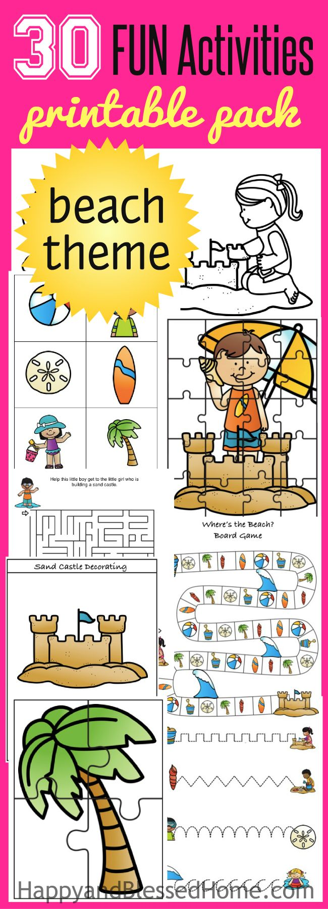 FREE Fun 27 Page Beach Activity Pack  - fun free printable activities for kids: board game, mazes, puzzles, coloring, matching and memory game, seashell crafts, tropical lemonade punch, trail mix and more. Ad #BringTheTropicsHome with this free printable pack and fun beach activities for preschoolers and young children.