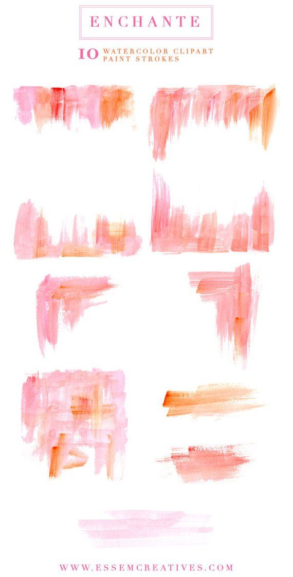 Pink Watercolor Paint Strokes Clipart Splash Clipart Dry Brush