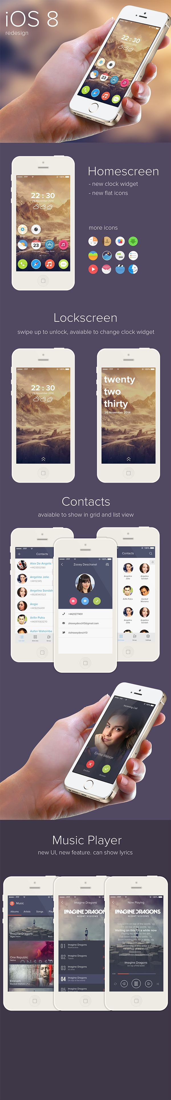 iOS 8 redesign by Ghani Pradita, via Behance #ui #interface #mobile #iOS8