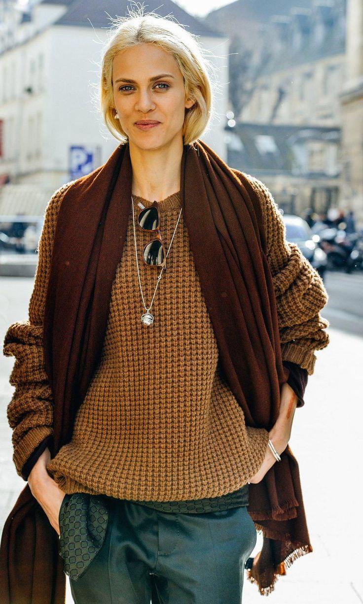 Green pants, mustard knit sweater, burgundy scarf