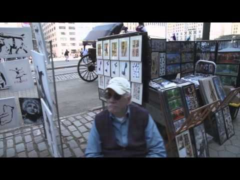 Banksy, whose work began popping up on New York walls this month, posted a video on his website showing an elderly man -- not the artist -- working at a stall at the park on Sunday. The selling price for each piece: $60. http://www.youtube.com/watch?v=zX54DIpacNE#t=17 http://edition.cnn.com/2013/10/14/living/banksy-street-art-sale/