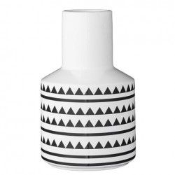 Bloomingville Vase Triangles with Lines White and Black