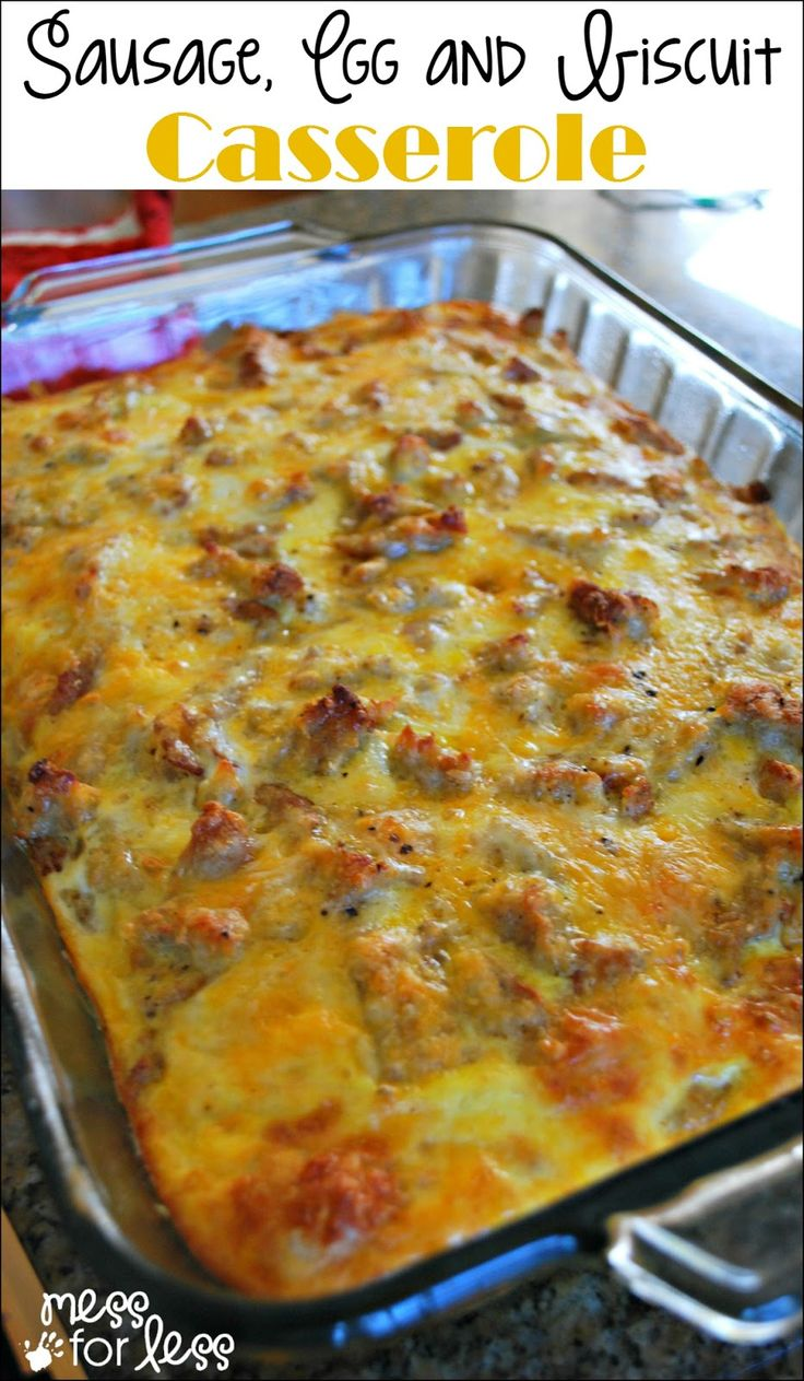 Sausage, Egg and Biscuit Breakfast Casserole - Make this ahead of time and just pop in the oven in the morning. Warm, cheesy and delicious!