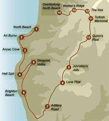 Map of Anzac Walk - Gallipoli and the Anzacs