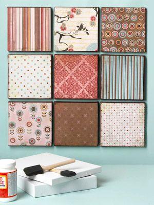Display your favorite papers. DIY: Ideas, Wall Decor, Walldecor, Canvasart, Canvas Art, Paper Scrap, Diy Wall Art, Scrapbook Paper Canvas, Crafts