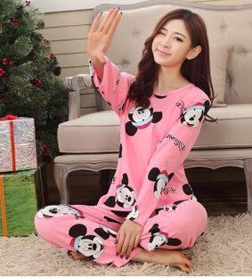 Livraison gratuite nouveau 2017 Printemps Automne Beau Caractère de Femmes Pyjamas Ensembles fille de Nuit Accueil Vêtements femmes pyjamas