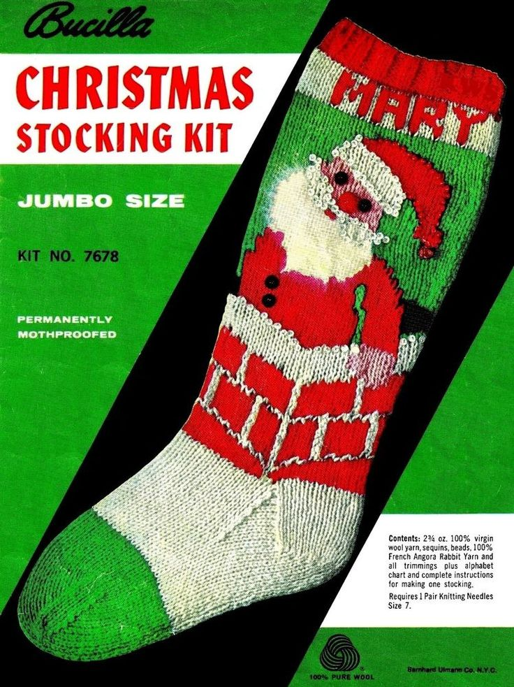 Knit Pattern For Christmas Stocking Kit : Vintage Knit Christmas Stocking Pattern - Knitting ...