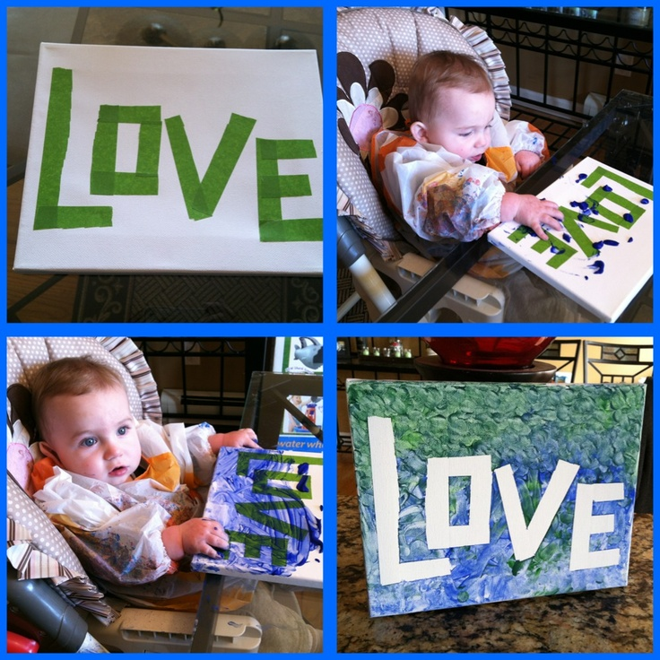 My 10 month old Logan finger painting! Spell out any word with painters tape onto wood/canvas, let them make a mess and peel the tape off! He had so much fun!