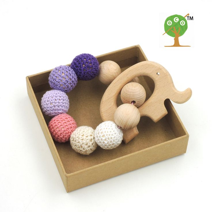 Drop shipping nursing toy shade pink purple crochet beads 20mm good quality beech wooden elephant charm teether ET39