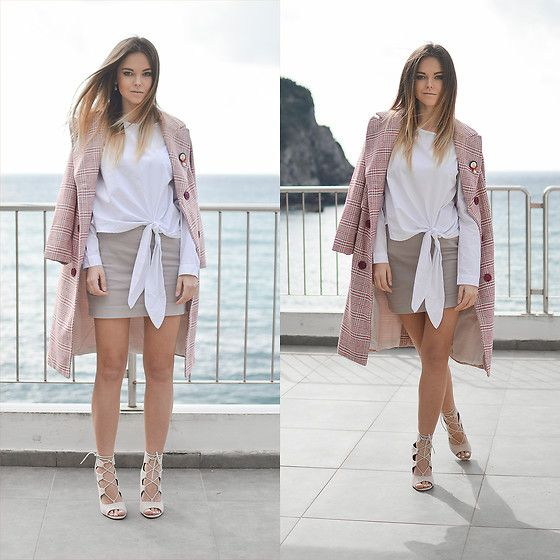 Get this look: http://lb.nu/look/8618615  More looks by Tamara Bellis: http://lb.nu/tamarabellis  Items in this look:  Yoshop The Double Breasted Checked Vinatge Coat, Yoshop Floral Embroidery Tie Blouse, Simmi Shoes Lace Up Heels   #chic #classic #romantic
