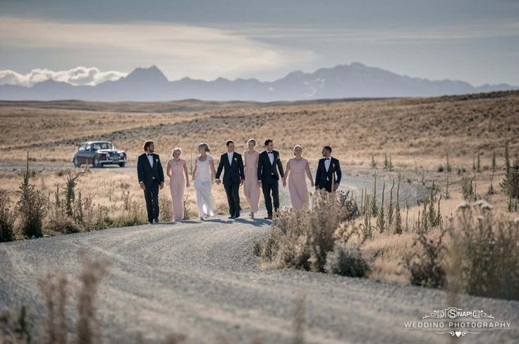 A relaxed casual bridal party stroll near Lake Tekapo. Check out other wedding photography by Anthony Turnham at www.snapweddingphotography.co.nz