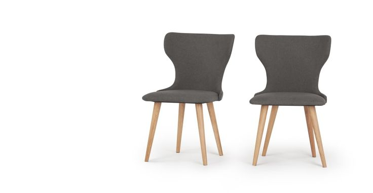 2 x Bjorg Dining Chairs, Grey and Natural | made.com