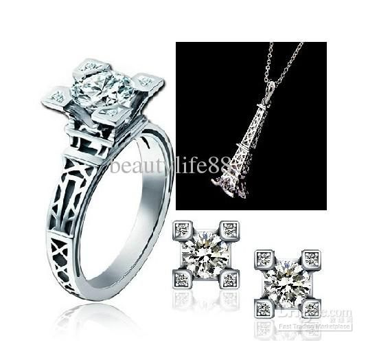 New Arrival French Tower 925 Silver Gold Rings Crystal Diamond Drill Ring Earrings Necklace Set Swarovski High Quality A3 Jewelry Jewelry Stores From Beautylife88, $50.32| Dhgate.Com