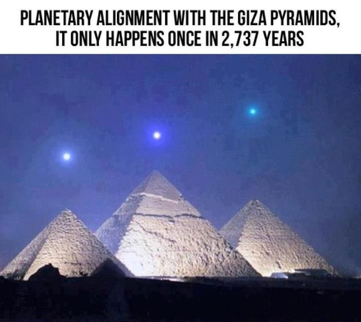 Planets Aligned With Giza Pyramids. Probably an artistic representation, but I think they do actually come close to alignment.