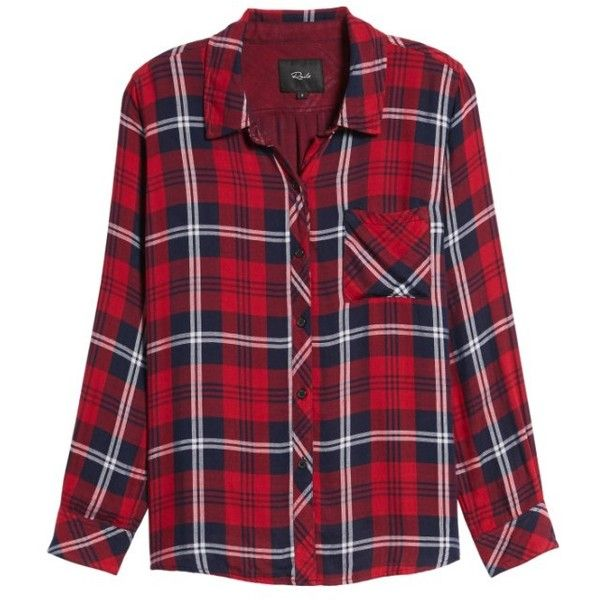 Women's Rails Taitum Plaid Shirt ($148) ❤ liked on Polyvore featuring tops, pattern shirt, shirt top, patterned tops, purple plaid shirt and drape top