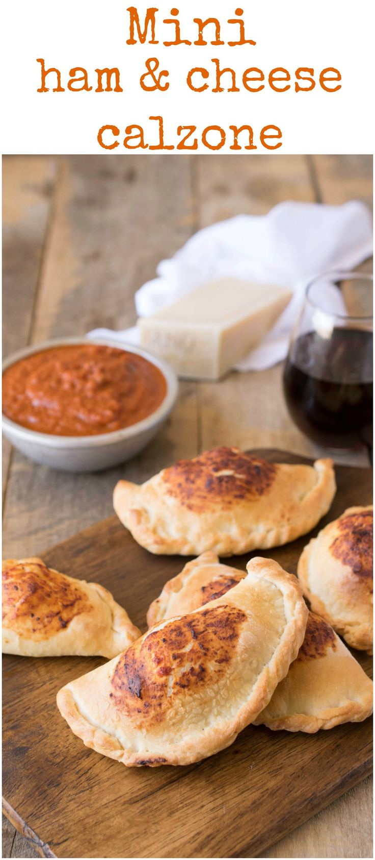 Mini ham & cheese calzones are easy to make. Homemade pizza dough filled…