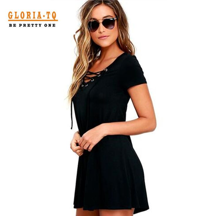 2017 New Fashion Sexy Lace-Up V Neck Summer Bandage Sexy Dress Casual Women Wide Hip Short Dress For Party Elegant Mini Dress