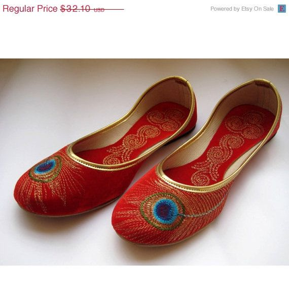 This listing is for Red Shoes/Gold Shoes/Red Flats/Ethnic Shoes/Velvet Shoes/Handmade Indian Designer Women Shoes/Maharaja Style Women Jooties An