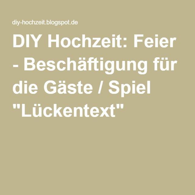 """DIY Hochzeit: Feier - Beschäftigung für die Gäste / Spiel """"Lückentext"""""""